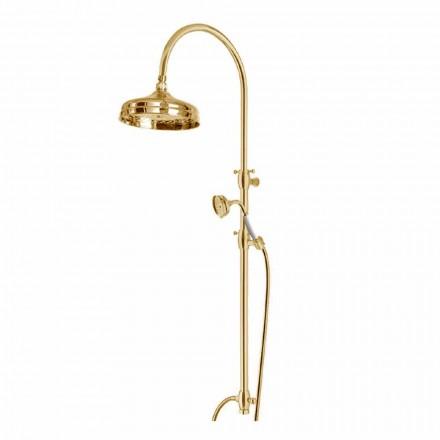 Columna de ducha de latón con cabezal de ducha redondo y ducha de mano Made in Italy - Brillo