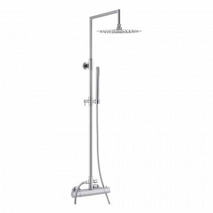 Columna de ducha de latón con cabezal de ducha redondo ultrafino Made in Italy - Merio
