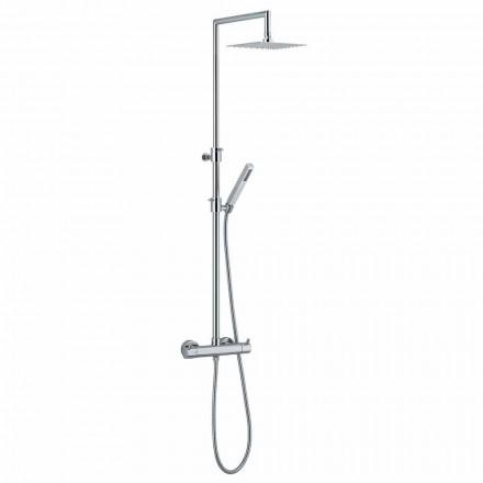 Columna de ducha en latón cromado con flexo y teleducha fabricada en Italia - Griso