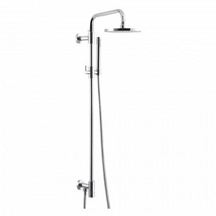 Columna de ducha de latón cromado con rociador de acero Made in Italy - Daino