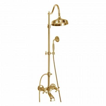 Columna de ducha ajustable de latón con grupo de baño Made in Italy - Fedrio