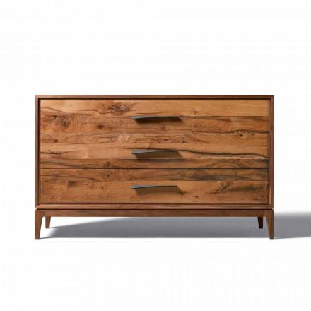 Cómoda de nogal con 3 cajones y diseño moderno, W 131 x D 55 x H 80 cm, Sandro