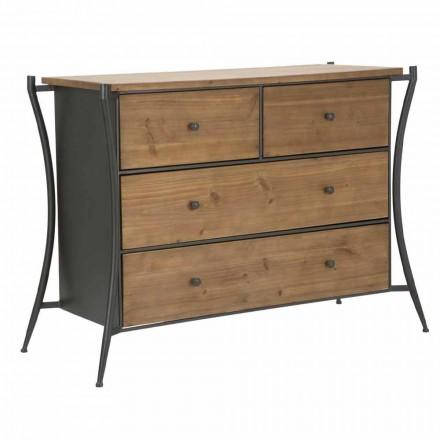 Cómoda de diseño con 5 cajones en madera de abeto y hierro - Doran