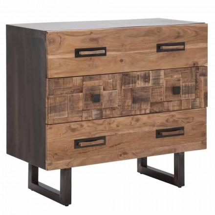 Cómoda en madera de acacia y hierro con 3 cajones de diseño moderno - Esmeralda