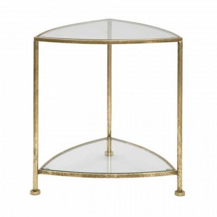 Mesita de noche triangular de diseño moderno en hierro y vidrio - Kira