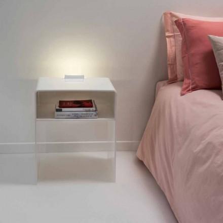 Mesita de noche blanca con luz LED táctil iluminable Adelia