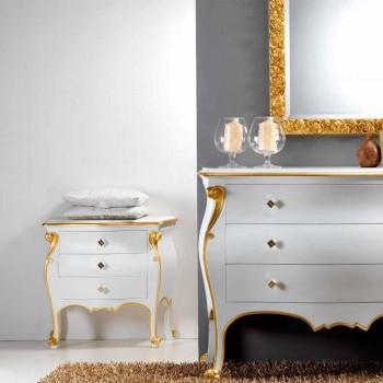 Bio cabecera diseño clásico con perfiles de oro, fabricado en Italia