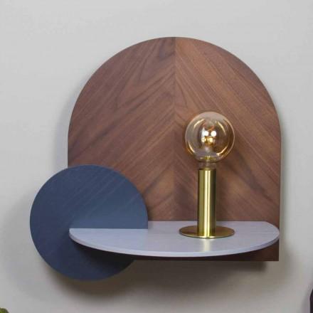 Mesita de noche de diseño moderno compuesta por 3 paneles modulares de madera contrachapada - Marea