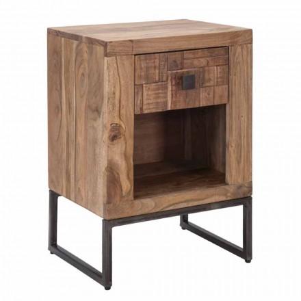 Mesita de noche de diseño con cajón en madera de acacia y hierro - Dionne