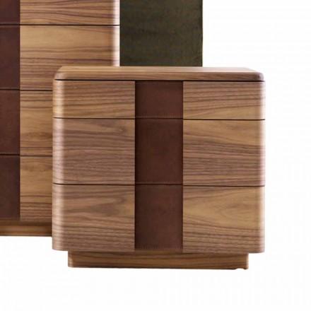Mesita de noche de madera maciza de diseño moderno Grilli York fabricada en Italia
