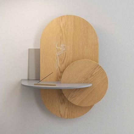 Mesita de noche en madera contrachapada compuesta por 3 paneles modulares de diseño moderno - Zita