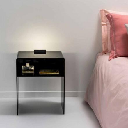 Mesita de noche negra con luz LED táctil iluminable Adelia, fabricada en Italia