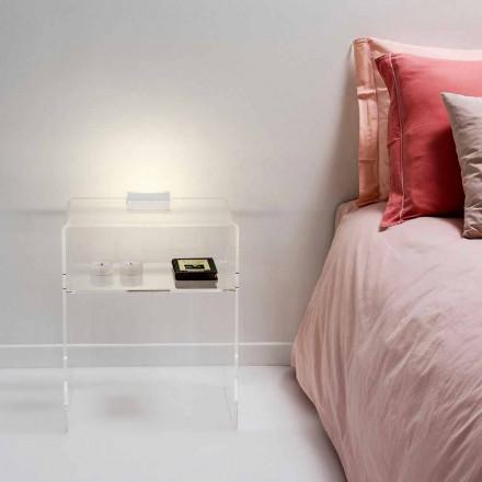 Mesita de noche transparente con luz LED táctil iluminable Adelia