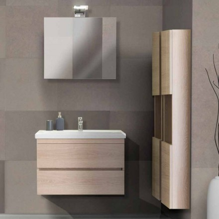 Mueble de baño 80 cm, lavabo, espejo y 2 columnas - Becky