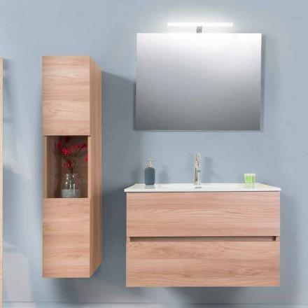 Mueble de baño 90 cm, lavabo Wah, espejo y columna - Becky