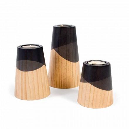 Composición de 3 candelabros modernos en madera de pino macizo - Blanco