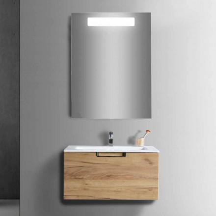 Mueble de baño con composición en madera y espejo de diseño moderno - Gualtiero
