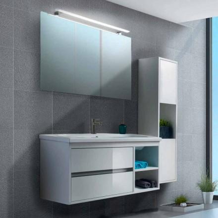Mueble de baño 100 cm, espejo, lavabo y columna - Becky