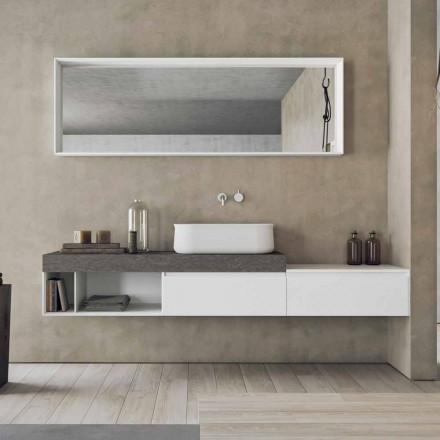 Composición moderna y suspendida de muebles de baño de diseño - Callisi2