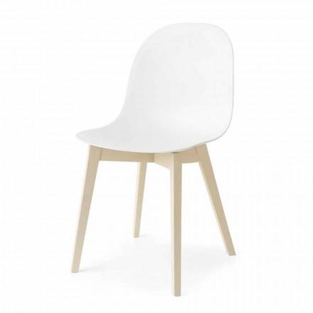Connubia Calligaris Academia silla diseño básico en madera, 2 piezas