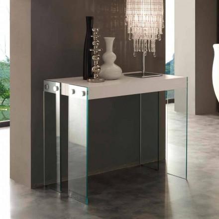 Consola extensible de diseño con patas de vidrio templado Miss
