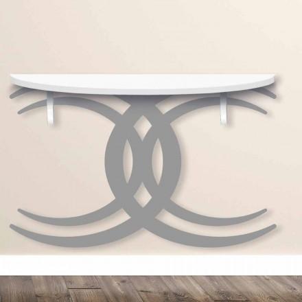 Consola de pared para diseño moderno en madera blanca y gris - Coco