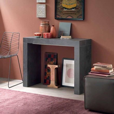 Consola de mesa extensible hasta 290 cm con tablero de madera Made in Italy - Seregno