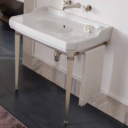 Consola de baño vintage de 90 cm, cerámica blanca, con pies Made in Italy - Nausica