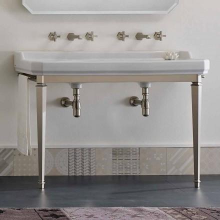 Consola de baño L 135 cm con doble cuenco en cerámica Made in Italy - Nausica
