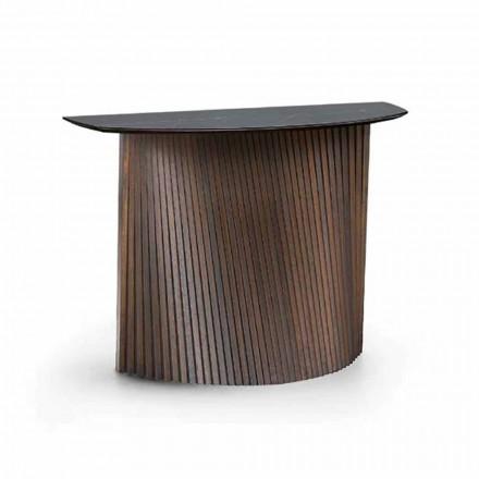 Consola de madera de lujo con tapa de gres de mármol Made in Italy - Oxido