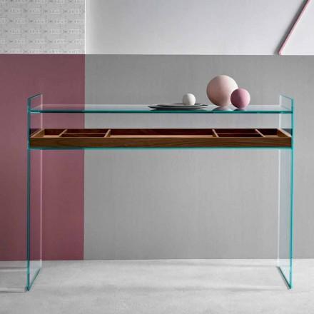 Consolle de Diseño en Vidrio Trasparente con Bandeja Hecho en Italia -Imperativo