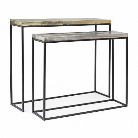 Consola de diseño industrial minimalista en acero 2 piezas Homemotion - Rambutan