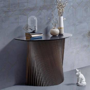 Consola fija moderna con forma convexa y tapa de gres, Apex