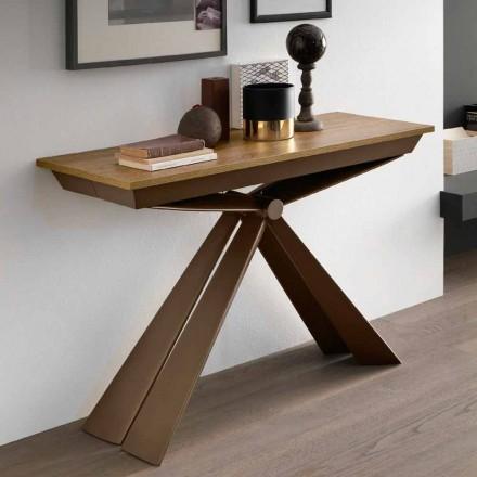 Consola de mesa en madera y metal extensible hasta 295 cm Made in Italy - Timedio