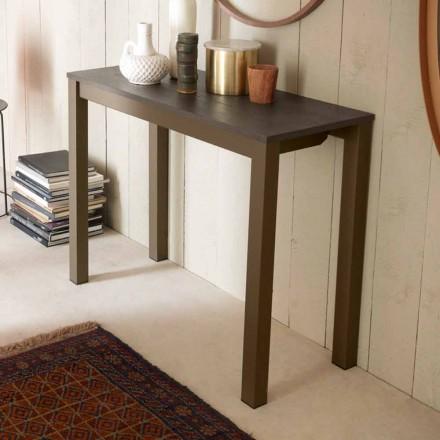 Consola de mesa extensible moderna en madera de roble y metal Made in Italy - Nappo
