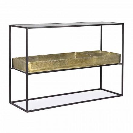 Consola de diseño industrial en acero y vidrio Homemotion - Malpensa