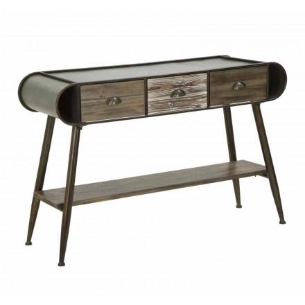 Consola rectangular de diseño moderno en hierro y madera - Marek