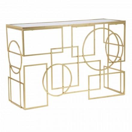 Consola rectangular de diseño moderno en hierro y espejo - Billie