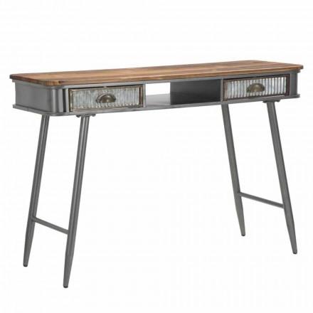 Consola rectangular de hierro y madera Diseño industrial - Ermo