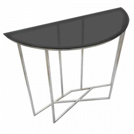 Consola de semicírculo de estilo moderno en hierro y vidrio - Augusta