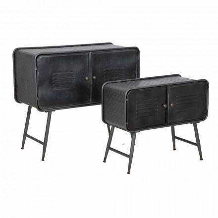 Par de aparadores industriales de estilo vintage para sala de estar en hierro - Cuna