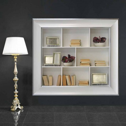 Librería de pared Tommaso con compartimentos de madera, hecha a mano en Italia.