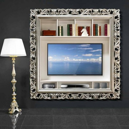Marco de pared para TV hecho a mano de madera, producido 100% en Italia, Mario
