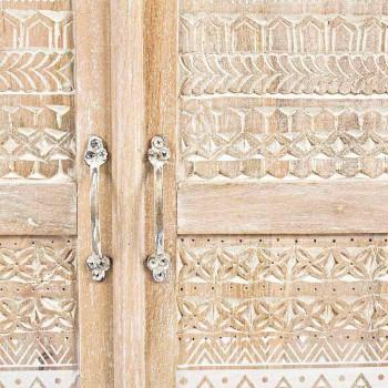 Aparador alto en madera decorada a mano con tiradores de latón Homemotion - Zotto