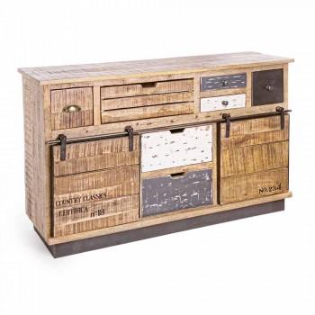 Aparador con estructura en madera de mango y acero de estilo industrial - Vidia