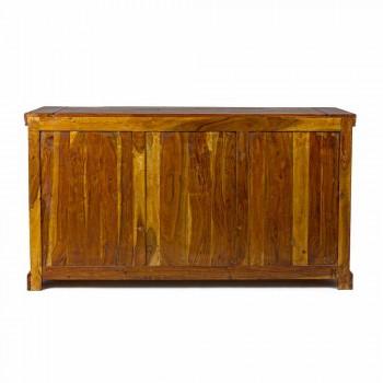 Aparador de diseño clásico en acabado rústico de madera maciza de acacia - Malaya
