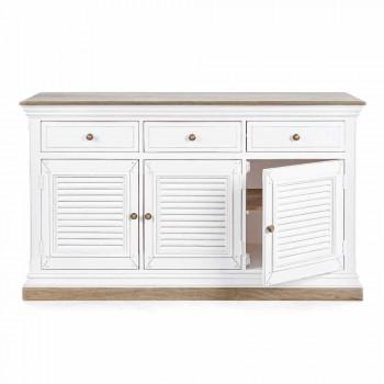 Aparador de diseño clásico en madera de mango con 3 puertas y 3 cajones - Baffy