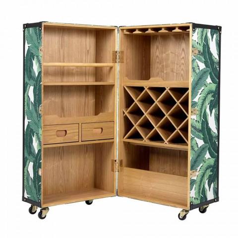 Aparador de diseño con ruedas en MDF, madera contrachapada y tela - Amazonia