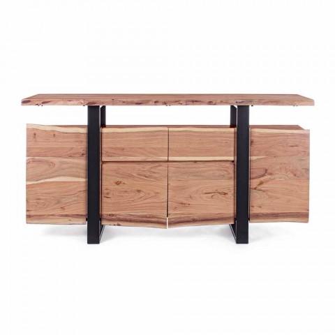 Aparador de diseño en madera de acacia y acero pintado Homemotion - Lanza