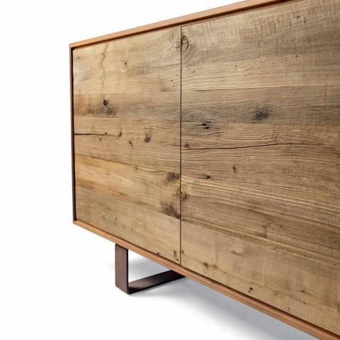 Aparador moderno con 3 puertas en nogal natural, W 215 x D 50 cm, Flora